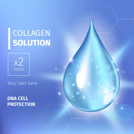 enzyme: Vector illustration of Supreme collagen oil drop essence. Premium shining serum droplet. Collagen drop. Cosmetics solution