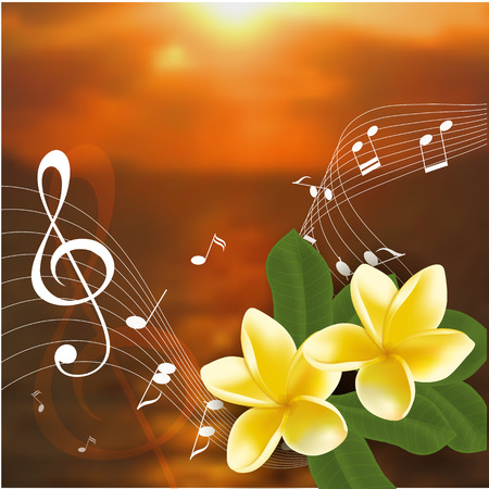 blue background texture: Vector illustration of Summer music party template with realistic frangipani, music notes and key.