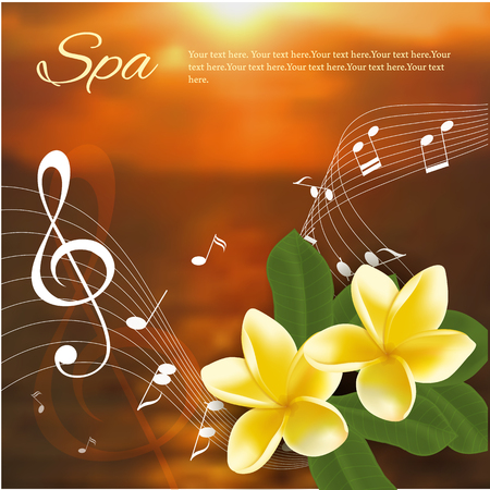 Vector illustration of Summer music party template with realistic frangipani, music notes and key.