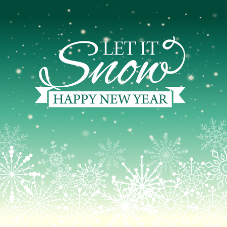 ecard: Vector illustration of Happy New Year and Merry Christmas e-card with snowflakes and designed vintage insignia. Poster. Post card.