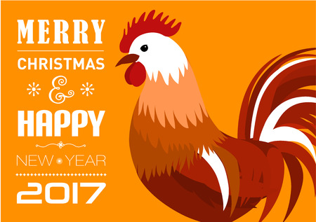 ecard: Vector illustration of Merry Christmas e-card with cock and designed text.