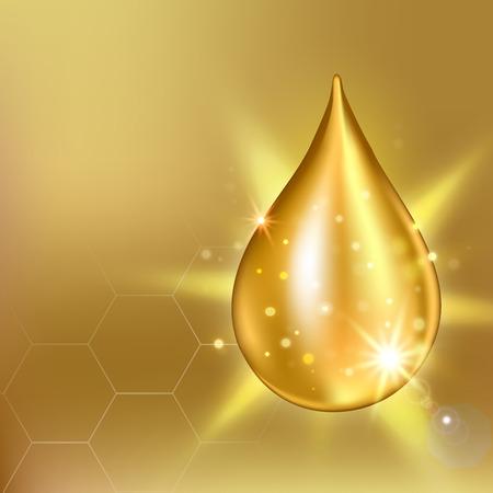 Vector illustration de collagène suprême essence de la goutte d'huile. Prime gouttelette de sérum brillant. goutte de collagène. solution Cosmétiques Vecteurs