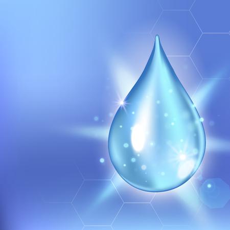 rna: Vector illustration of Supreme collagen oil drop essence. Premium shining serum droplet. Collagen drop. Cosmetics solution