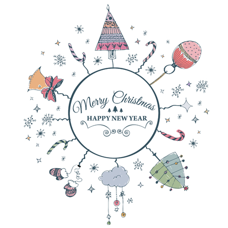 Vector illustration of Merry Christmas e-card template.