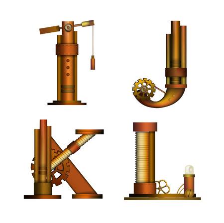steam iron: Set of Steampunk alphabet letter for your design. Vector illustration.