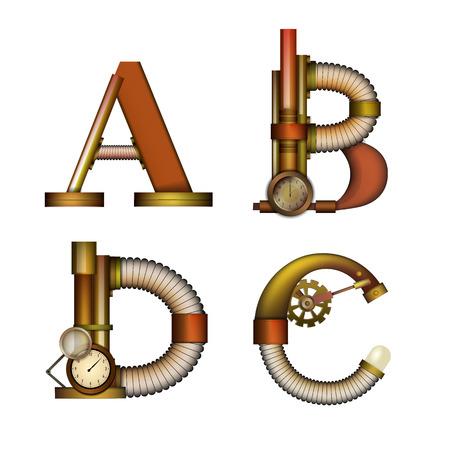 Set of Steampunk alphabet letter for your design. Vector illustration.