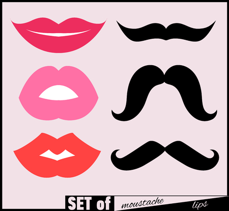 fake smile: Set of lips and mustaches. Vector illustration.