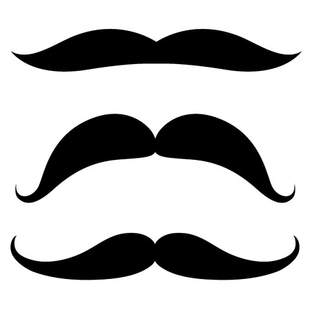 chaplin: Set of mustache of different shapes. Vector illustration.