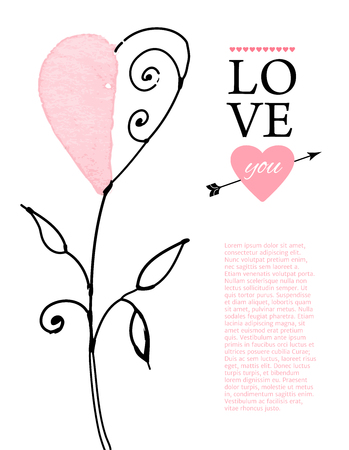 valentine s: Postcard for Valentine s day with hand drawn watercolor hearts. Vector illustration.