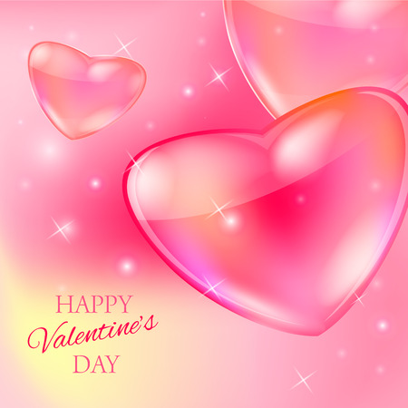 bokeh message: Postcard for Happy Valentine s day with glass hearts and bokeh lights and with text message. Vector illustration.