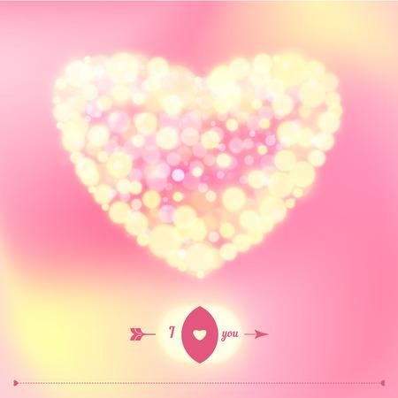 valentine s: Postcard for Happy Valentine s day with bokeh lights. Vector illustration. Illustration