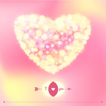 Postcard for Happy Valentine s day with bokeh lights. Vector illustration. Illustration