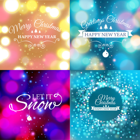 12: Vector illustration of Set of Merry Christmas postcard with designed text.