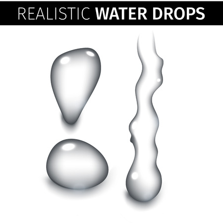 pure: Vector illustration of Pure clear water drops realistic set isolated Illustration