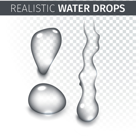 clear: Vector illustration of Pure clear water drops realistic set isolated Illustration