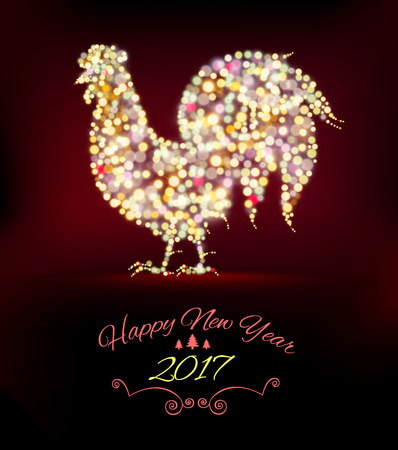 christmas postcard: New Year Card with rooster of lights. Vector illustration Illustration