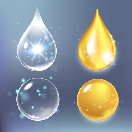 Set of collagen drops, water, transparent, hyaluronic acid Vector illustration