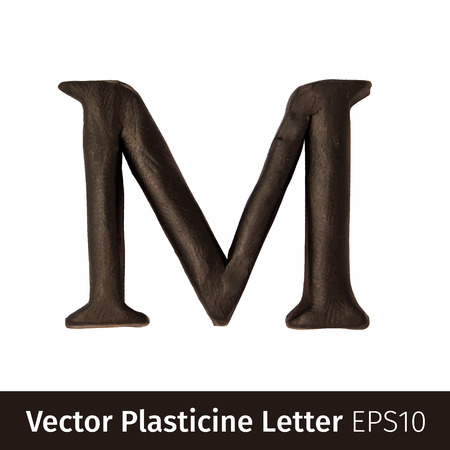 monotype: Set of plasticine letters of english alphabet. Vector illustration