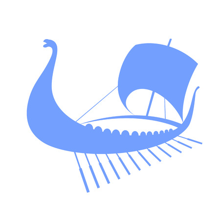 Viking ship icon. Longship. Isolated on white. Vector illustration