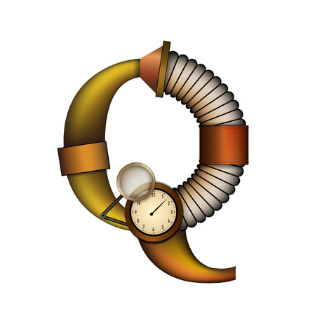 Steampunk alphabet letter for your design. Vector illustration.