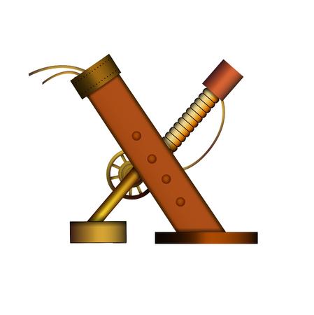 steam iron: Steampunk alphabet letter for your design. Vector illustration.
