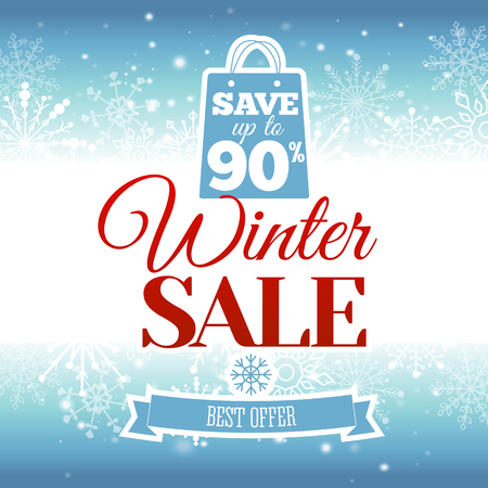 ultimate: Vector illustration of Winter sale poster.