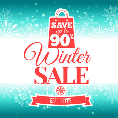 ultimate: Vector illustration of Winter sale poster. Badge.
