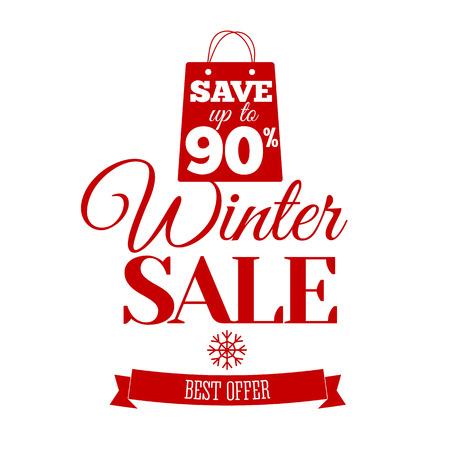ultimate: Vector illustration of Winter sale inscription. Badge.