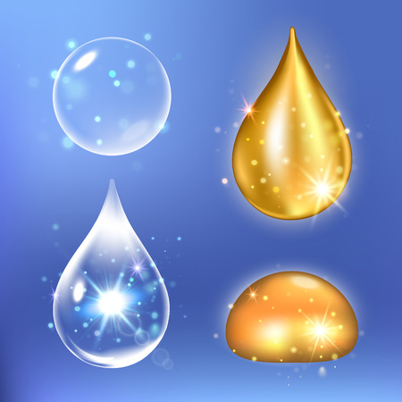 Vector illustration of Set of Collagen Serum and Vitamin drops. Illustration