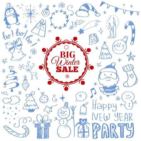 ultimate: Vector illustration of Winter sale poster with Christmas doodles. Badge. Doodle megaset.