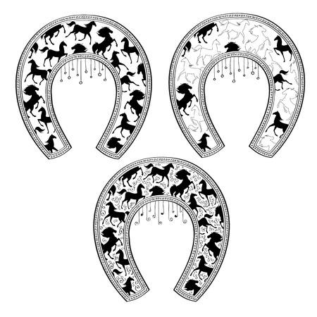 talisman: Ilustración del vector de Conjunto de herraduras con el patrón de caballo. diseño de la camisa.