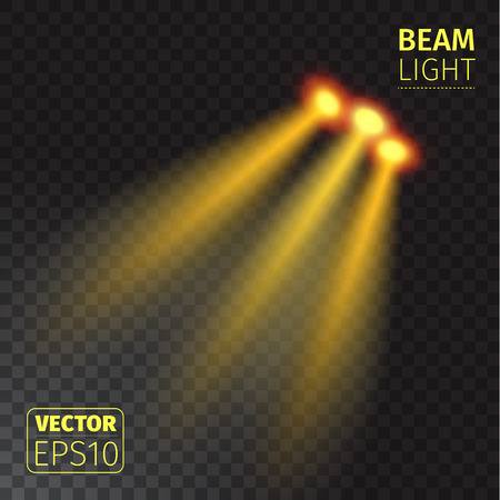 Vector illustration of realistic beam lights on transparent background. Illustration