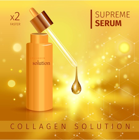 Vector illustration of Gold realistic cosmetic tube poster with collagen solution cream or essence on gold background Иллюстрация
