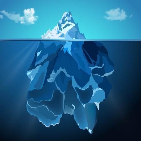 fiambres: Ilustración del vector del iceberg en el agua foto de fondo realista Vectores