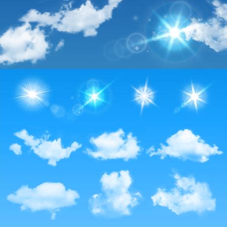 creador: Ilustración del vector del cielo creador. Establecer las nubes realistas y sol.