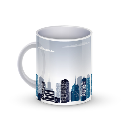 Coffee cup template illustration with the city background. Illustration