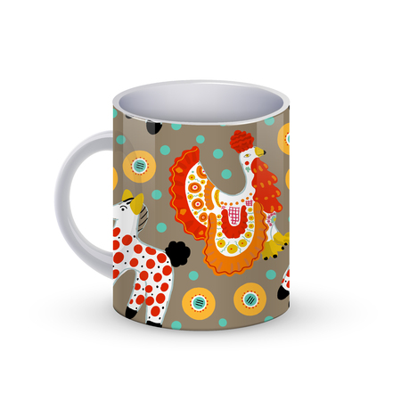 Coffee cup template illustration with Beautiful seamless pattern with cock in Russian Dymkovo style.