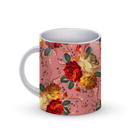 Vector illustration of Coffee cup template illustration with flower russian traditional pattern. Illustration