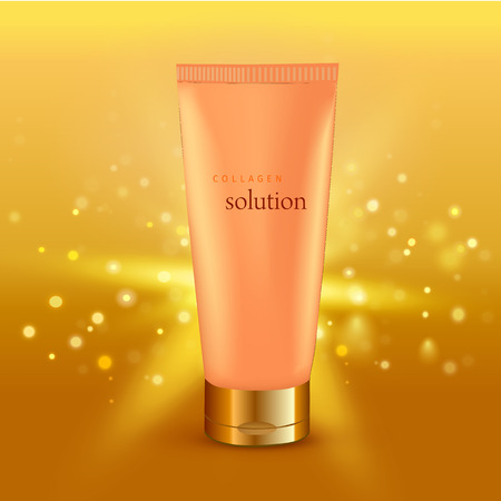 Realistic vector illustration. Collagen solution intensive cream tube gold background advertisement poster for pharmaceutical and cosmetics products Illustration