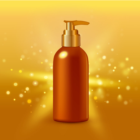 elasticidad: Ilustración vectorial realista. solución de colágeno intensiva crema tubo fondo del oro cartel de publicidad de productos farmacéuticos y cosméticos Vectores