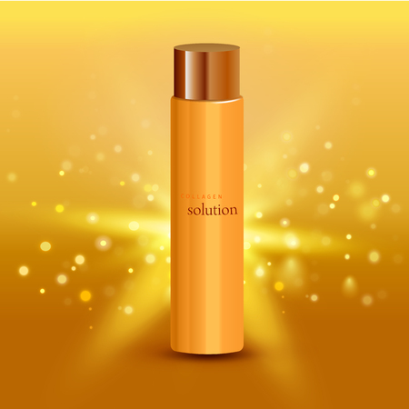 elasticity: Realistic vector illustration. Collagen solution intensive cream tube gold background advertisement poster for pharmaceutical and cosmetics products Illustration