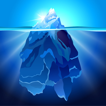 Realistic Iceberg in water background. Vector illustration. Stock Illustratie