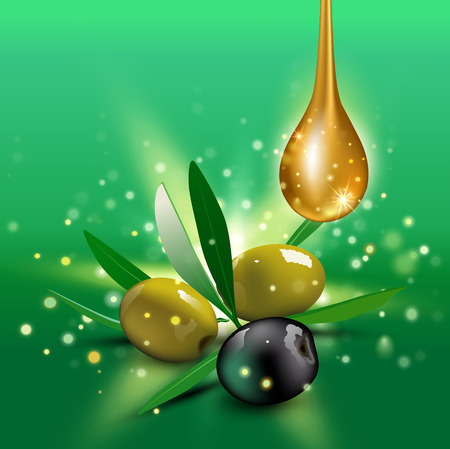 olive leaves: Realistic green and black olives with olive leaves and oil drop on green background. Vector illustration. Olive festival in Spain, Hanukkah