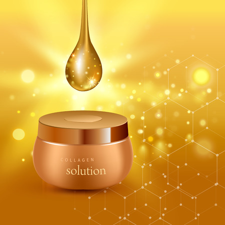 Vector illustration of Gold realistic cosmetic tube poster with collagen solution cream or essence on gold background Illustration