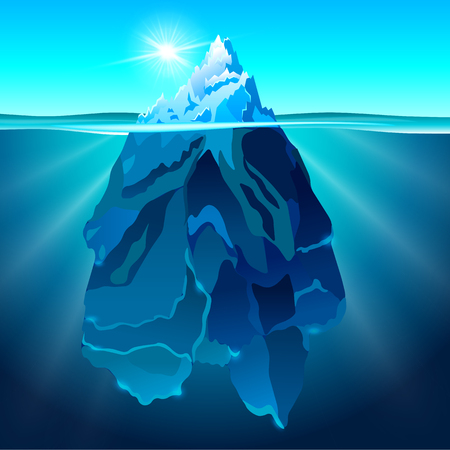 Vector illustration of Iceberg in dark blue ocean. Baner and poster template with the snow hill picture.