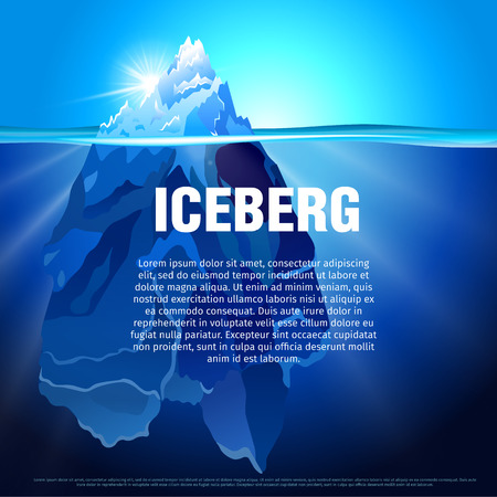 tip of iceberg: Vector illustration of Iceberg in dark blue ocean. Isolated water ice mountain tip. Baner and poster template with the snow hill picture. Illustration