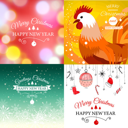 Vector illustration of Set of Merry Christmas e-card template. Illustration