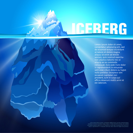 Vector illustration of Iceberg in dark blue ocean. Isolated water ice mountain tip. Baner and poster template with the snow hill picture. Illustration