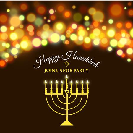 Vector illustration of Hanukkah background with menorah and lights. Happy Hanukkah background. Elegant greeting card. Illustration