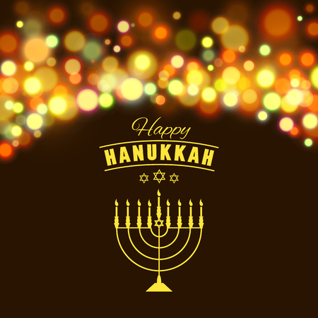 hannukah: Vector illustration of Hanukkah background with menorah and lights. Happy Hanukkah background. Elegant greeting card. Illustration